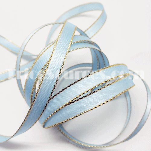 Double Faced Satin Ribbon With Gold Edge 1/4