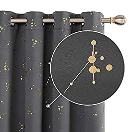 Deconovo Home Decoration Gold Constellation Printed Curtains Eyelet Blackout Curtains Thermal Insulated Curtains for Nursery with Two Matching Tie Backs Light Grey W66 x L72 One Pair
