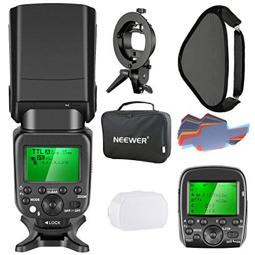 Neewer 2.4G Wireless 1/8000s HSS TTL Master/Slave Flash Speedlite Kit for Sony Camera with New Mi Shoe,Includes:NW630 Flash,Flash Trigger,S-type Bracket,16x16 inches Softbox,20 Pieces Color Filter by Neewer