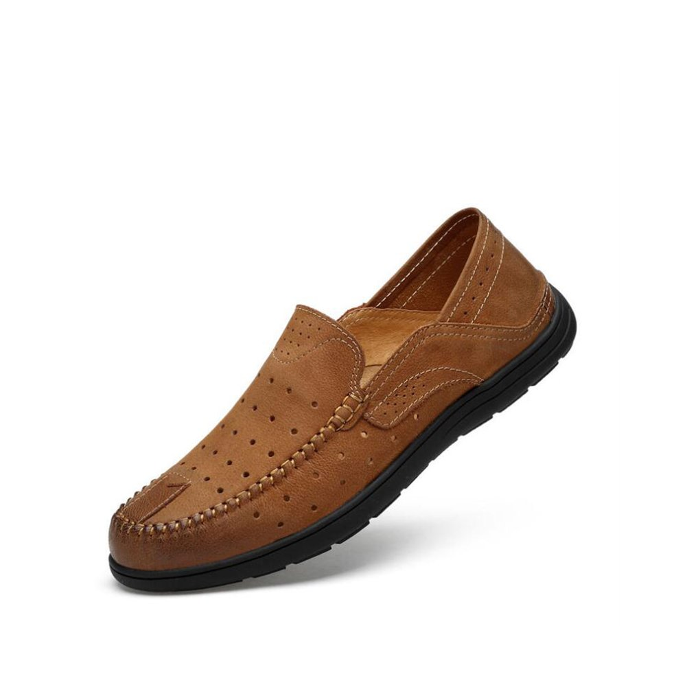 GFP Mens Leather Shoes,Summer Breathable Leather Casual Leather Shoes First Layer Leather Mens Shoes Lazy Shoes Color : B, Size : 47