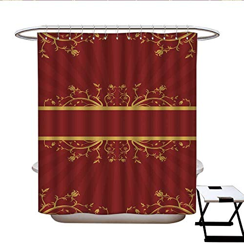 Sunset glow Fabric Shower Curtain red and Gold Floral Scroll Pleated Shower Curtain 69