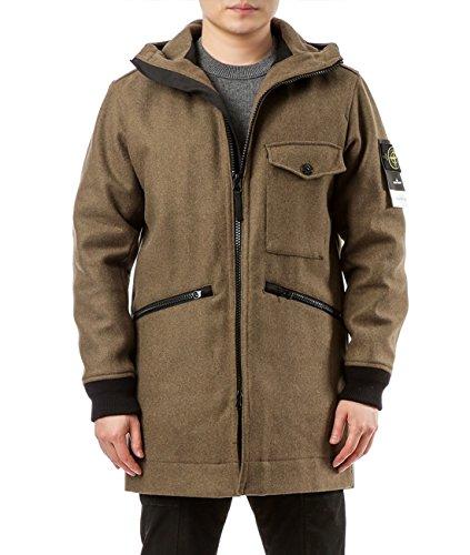 Wiberlux Stone Island Men's Hooded Zip-Front Woolen Coat M Olive Brown (Hoodie Stone Mens Island)