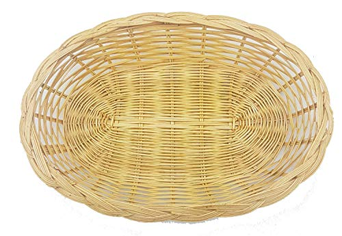 MY HOPE Set of Oval 2 Pieces, Rattan & Bamboo Baskets for Tabletop or Counter Display, For Serving Bread, Fruits and Vegetables Wicker Woven Storage Basket, Size 8.5 x 12.0 x 1.5 inch