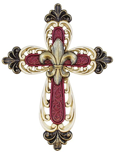Decor Wall Mount Cross - Scrolly Art Details - Maroon and Cream White with Gold Accents (Ornate Fleur De Lis)