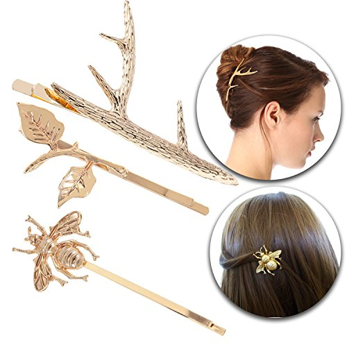 Hair Styling Jewelry Hairstyling Set of 3pcs Decorative Decoration Hairpins Pins Clips Clasps In Golden Colors and With Leaves, Deer Horn and Bee Shaped Ornaments