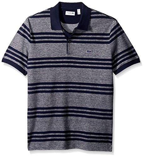 Lacoste Men's Father's Day Linen/Cotton Stripe Birds Eye Pique Polo, PH2072, Navy Blue/Flour-Navy Blue, XL Birdseye Stripe Polo