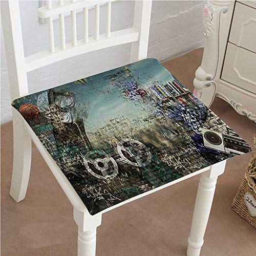 Mikihome Memory Foam Chair Pads Background in The Style of Hip Hop and Tape and Ball Print Brown Cushion Perfect Indoor/Outdoor 20