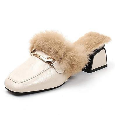 f742b59ab10 Women s Slip-on Loafer Slides Oxfords Buckle Velvet Backless Fur Mules Beige