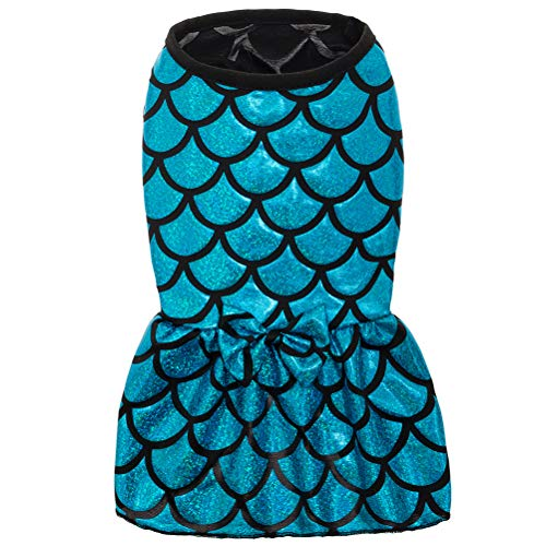 PUPTECK Mermaid Pet Clothes - Dog Dresses Sundress Cat Vest Shirts - Water-Proof Blue Cute Dress Small -