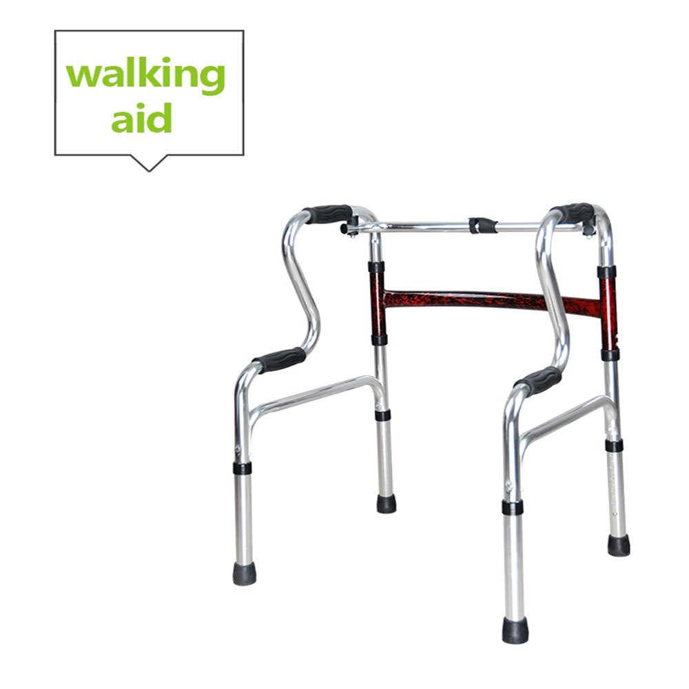 XIHAA Elderly People Portable Walker Aid Disabled Adjustable Foldable Non-Slip Foot Pad Walking Rehabilitation Equipment Bathroom Bath Chair Red (Without Wheel)