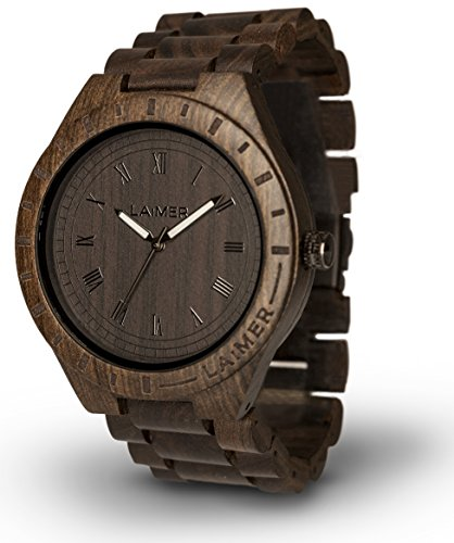 LAiMER Men's Wooden Watch BLACK EDITION - Wrist Watch made of natural Sandalwood - Nature & Lifestyle for Mens