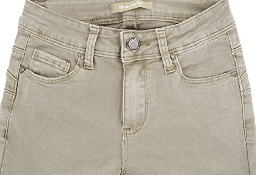Talla Pantalones Color Nina Carter De 34 Jeans Skinny 42 Mujer Solapas Slim Beige Stretch Vaqueros A qSvxXTS