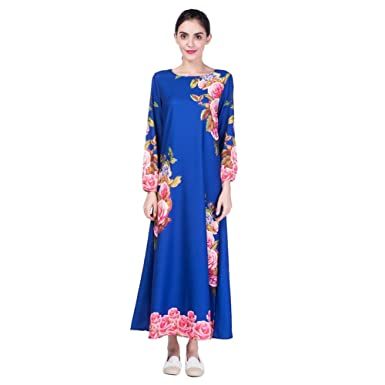 ceeb7eea96b Hougood Robe Longue Femme Musulmane Islamique Abaya Robe Maxi Dress Manches  Longues Imprimé Dubai Kaftan Robes Ceremonie Party Occasion Robe Cocktail  ...