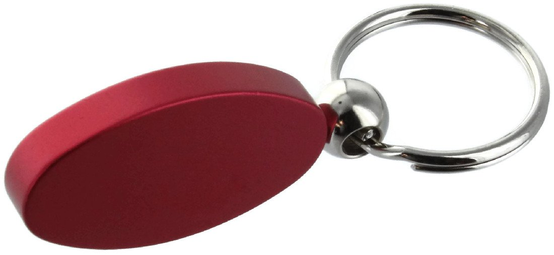 INC Au-Tomotive Gold Frod Mustang Logo Red Aluminum Oval Key Chain