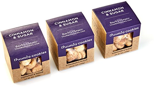 Thumbs Cookies Gourmet Cinnamon Sugar Cookie Pack of Fresh Baked Cookies - 3 Boxes - 1/3 lb. Cookie Gift Box (Cinnamon Gift)
