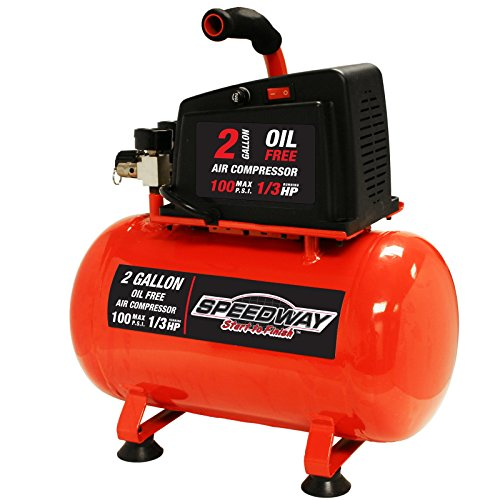 Speedway 7517 0.5 HP 2-Gallon Hotdog style Oil Free Air compressor