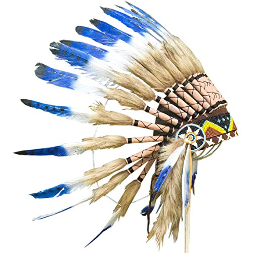 Feather Headdress - ADJUSTABLE KIDS SIZE - Indian Inspired - Blue & White (2)