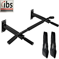 IBS Wall Mounting Pull up Chin up Bar with Ab Straps Solid Fitness Accessory for Home Gym (Color-Black)