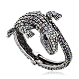 KAYMEN FASHION JEWELLERY Kaymen Jewelry Evil Crocodile Shining Crystal Coverd Cuff Bangle Bracelet Open for Young or Party Fit 7-8 Inch (Grey)