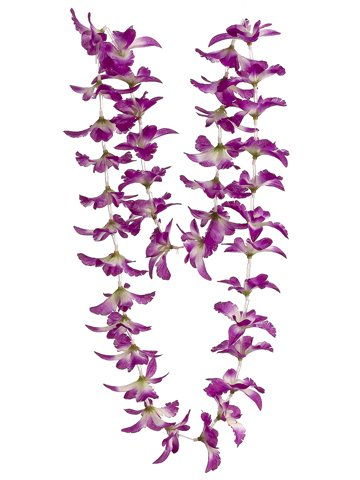 CC Home Furnishings Club Pack of 24 Artificial Purple White Hawaiian Orchid Silk Flower Leis 23