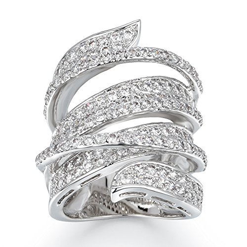 Delicin Jewelry Rhodium Plated Cubic Zirconia Wide Band Cocktail - Band Ring Wide Rhodium