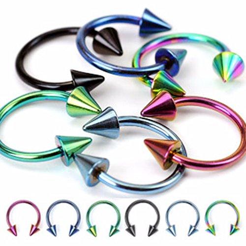 0 gauge horseshoe cone earrings - 2