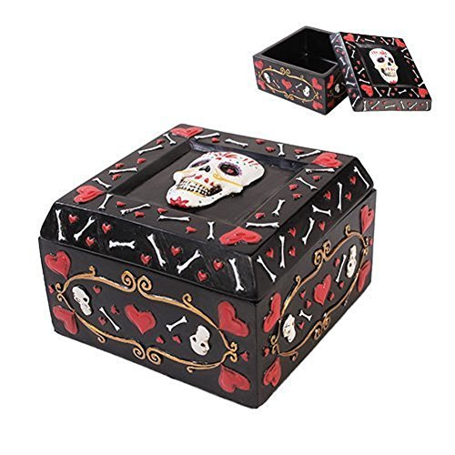 Pacific Trading Giftware Day of The Dead Black Jewelry/Trinket Candy and Offering Bowl Box Height 2.5'' Figurine Made of Polyresin ()
