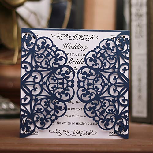 Laser Cut Invitation Cards 50 Pack Square Hollow Invitation Card kit with Blank Printable Paper and Envelopes for Wedding, Business,Engagement,Birthday,Baby Shower(Blue)