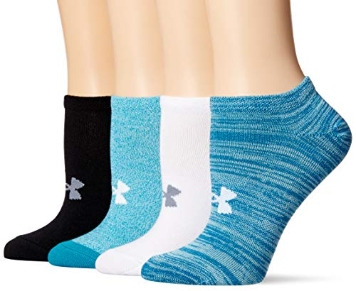 Under Armour Womens Essential No Show Socks 4 Pairs, Bayou Blue Assorted, Medium