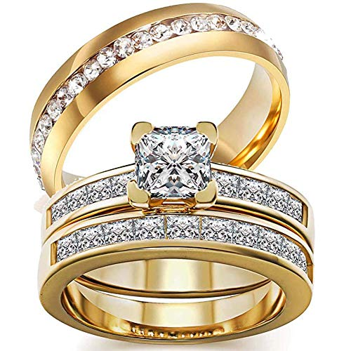 AONEW His Her Couples Ring Square Clear Cubic Zirconia Solitaire Women Wedding Engagement Ring Set & Mens Single Row CZ Wedding Band Yellow Gold Plated