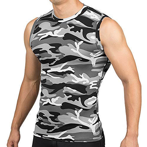 DRSKIN Undershirts Running Shirt Tank Tops Men's Cool Dry Compression Baselayer Sleeveless (XL, STMG09)