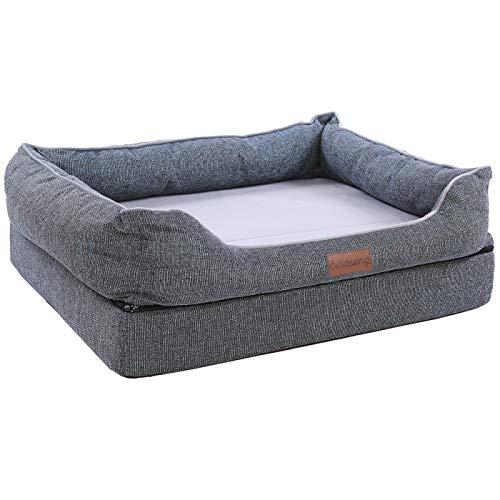 Cheap PLS Birdsong Fusion Orthopedic Dog Bed, Large, Firm Foam Dog Bed, Dog Beds for Large Dogs with Removable Cover