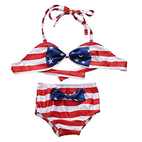 fb382ac4a1 Miwear American Flag Two Piece Bathing Suit Baby Girls Stars Stripe Halter  Top + Bottom Shorts Bikini Set (Multicoloured