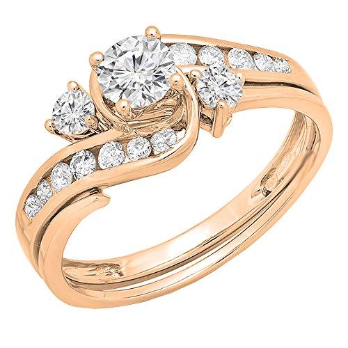 Dazzlingrock Collection 0.90 Carat (ctw) 14K Round Diamond Swirl Bridal Engagement Ring Set, Rose Gold, Size 8