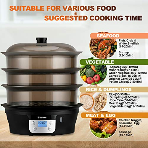COSTWAY Food Steamer Vegetable Steamer 3 Tier Stackable Baskets 20 Quart Capacity 1000W Fast Heat-Up Timing, Automatic Shut Off, Appointment Electric Pot Cooker w/Food Tray by COSTWAY (Image #3)