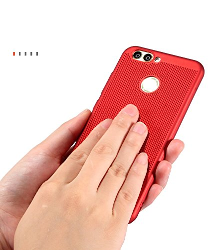 Funda Huawei nova2,Alta Calidad Ultra Slim Anti-Rasguño y Resistente Huellas Dactilares Totalmente Protectora Caso de Plástico Duro Case,Cuadrícula Disipación de calor Antideslizante Cover(YQ3-4) B