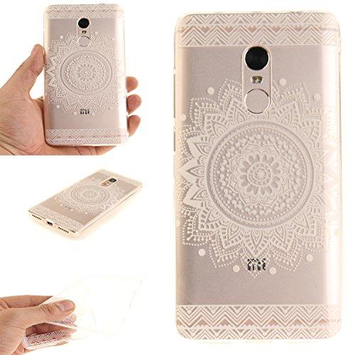 Caja Transparente de Xiaomi Redmi Note 4, MAGQI Flexible y Durable del gel de TPU a Prueba de Choques [Anti-Rasguñe] Tope de la Absorción y, [Pluma Negra Libre de la Aguja]-Mandala negro Mandala