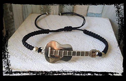Pulsera en macrame, con guitarra, hecha a mano, artesanal, unisex ...