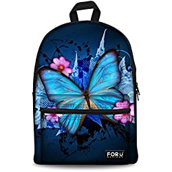 Bigcardesigns Blue Butterfly Canvas Bookbag Backpack