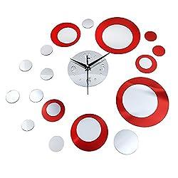 uHomee DIY Creative Round Mirror Wall Clock Stickers Home Decor