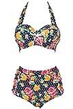 Swimsuit, Abary Vintage High Waisted Flowers Polka Dots Bikini 3XL(US 12-14)