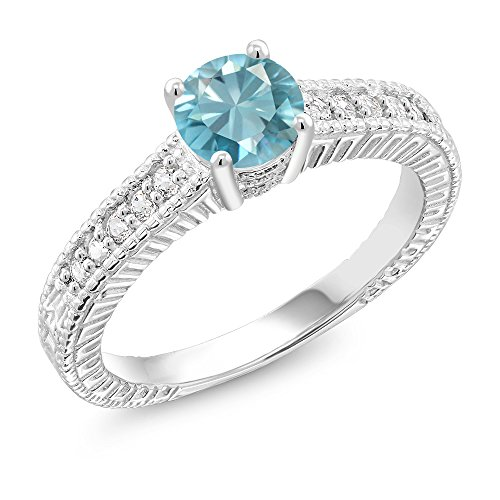 1.35 Ct Round Blue Zircon 925 Sterling Silver Ring (Size ()