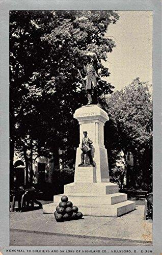 Hillsboro Ohio Soldiers And Sailors Memorial Antique Postcard ()