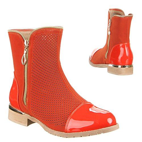 Ital-Design Damen Schuhe, W-15, Stiefeletten Orange