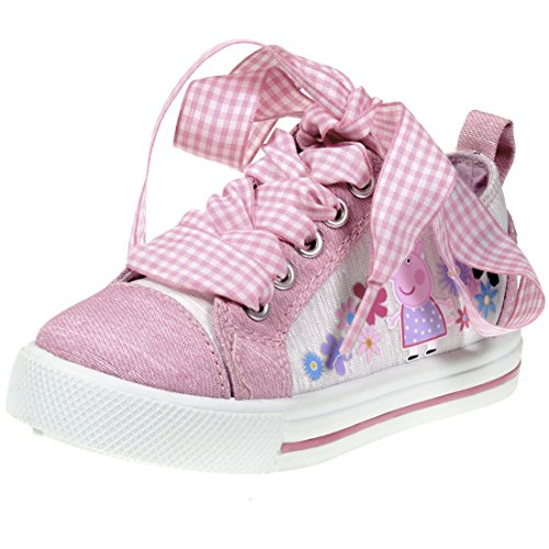 Floral Pig (Peppa Pig Kids Toddler Girls Pink Canvas Floral Sneakers with Plaid Fabric Lace, Size 8)