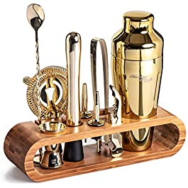 Mixology Bartender Kit: 10-Piece Gold Bar Set Cocktail Shaker Set with Stylish Bamboo Stand   Perfect Home Bartending Kit with Gold Bar Tools and Martini Shaker for Foolproof Drink Mixing