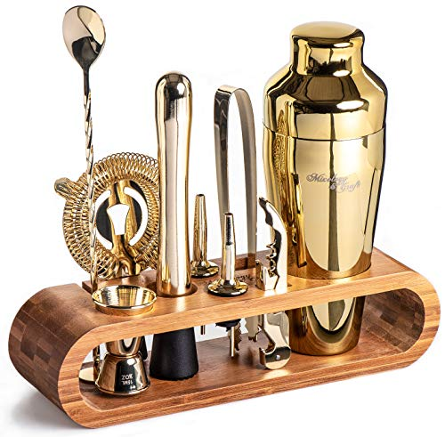 Mixology Bartender Kit: 10-Piece Gold Bar Set Cocktail Shaker Set with Stylish Bamboo Stand | Perfect Home Bartending Kit with Gold Bar Tools and Martini Shaker for Foolproof Drink Mixing