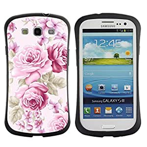 "Hypernova Slim Fit Dual Barniz Protector Caso Case Funda Para SAMSUNG Galaxy S3 III / i9300 / i747 [Rosa viejo vintage Señora Femenino""]"