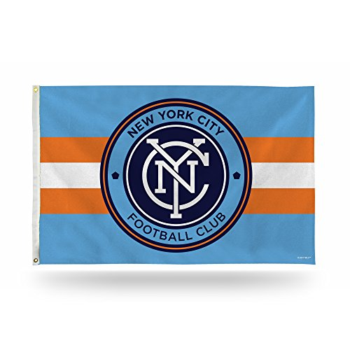 Rico Industries MLS New York City FC 3-Foot by 5-Foot Single Sided Banner Flag with Grommets ()