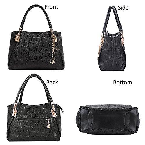 Bolsos Tote de Bolso Cuero Mujer Bolso Shopper Bolso Mano Bolsos negro Bag de Bandolera Bolso Coofit 3 Bolso pq6x8S